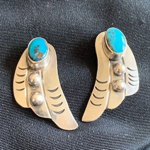 Vintage Turquoise & Sterling Silver Stud Earrings